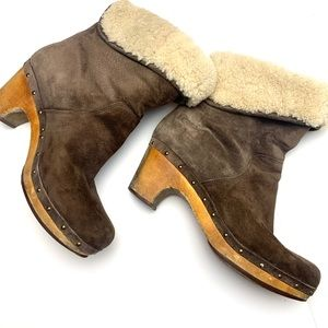 Ugg Lynnea Studded Suede/Sherpa Clog Boots